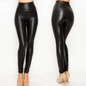 Pants - Black⭐️Ultra High Waist Vegan Leather Leggings